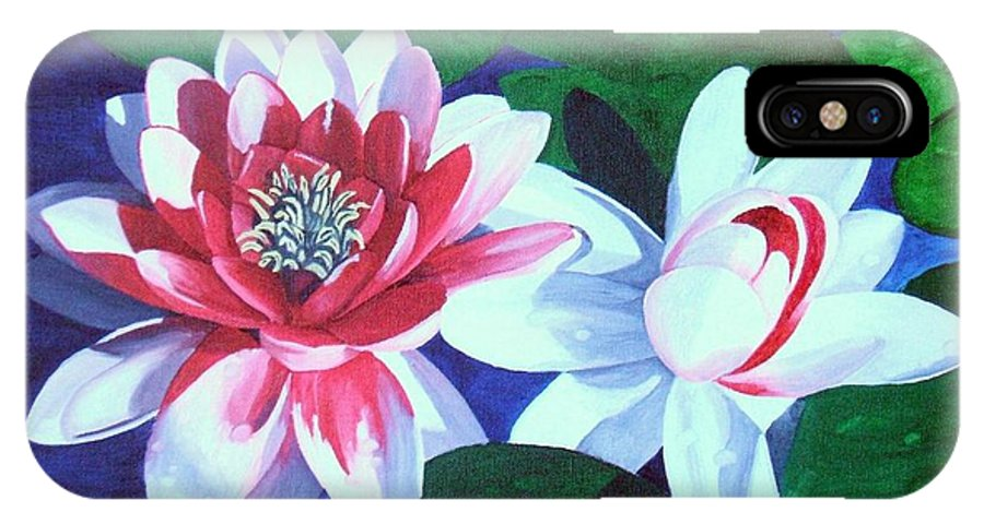 Water Lilies IPhone X Case featuring the painting Waterlily Dance by Brandy House