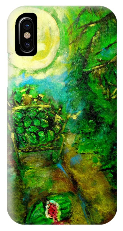 Watermelon Wagon Moon IPhone X Case featuring the painting Watermelon Wagon Moon by Seth Weaver