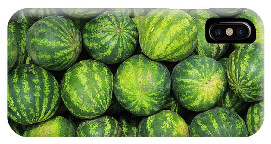 Watermelon IPhone X Case featuring the photograph Watermelons At The Market by Robert Hamm