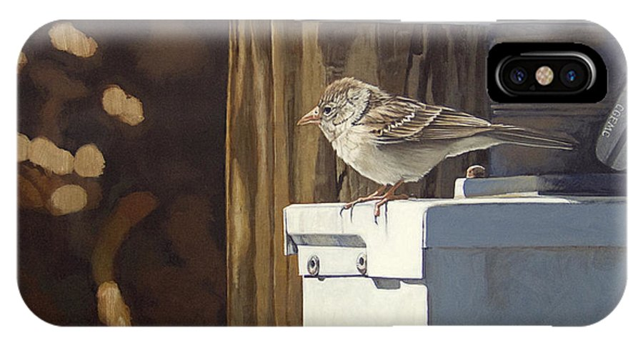 Landscape IPhone X Case featuring the painting Watt A Bird by Peter Muzyka