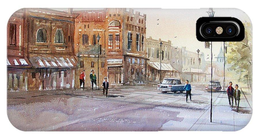 Watercolor IPhone X Case featuring the painting Waupaca - Main Street by Ryan Radke