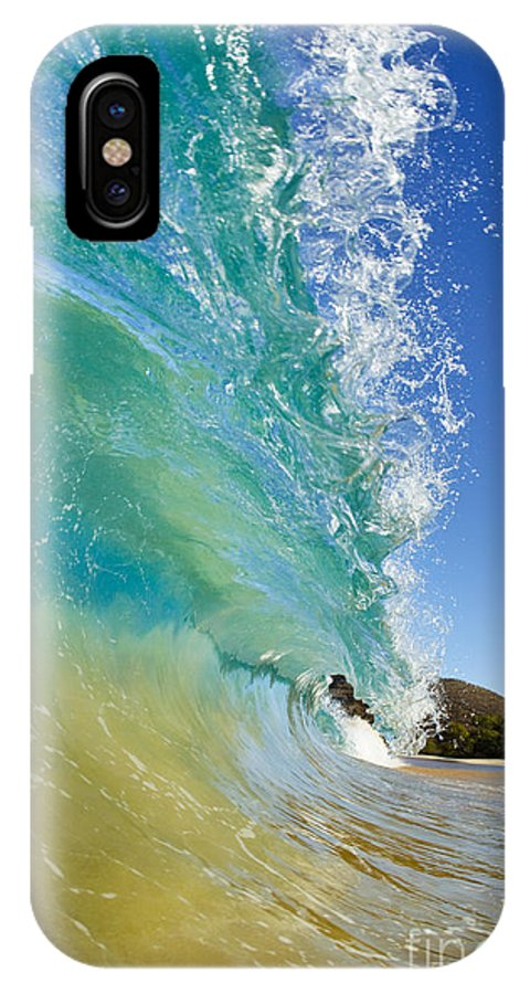 Aqua IPhone X Case featuring the photograph Wave Breaking at Makena by MakenaStockMedia