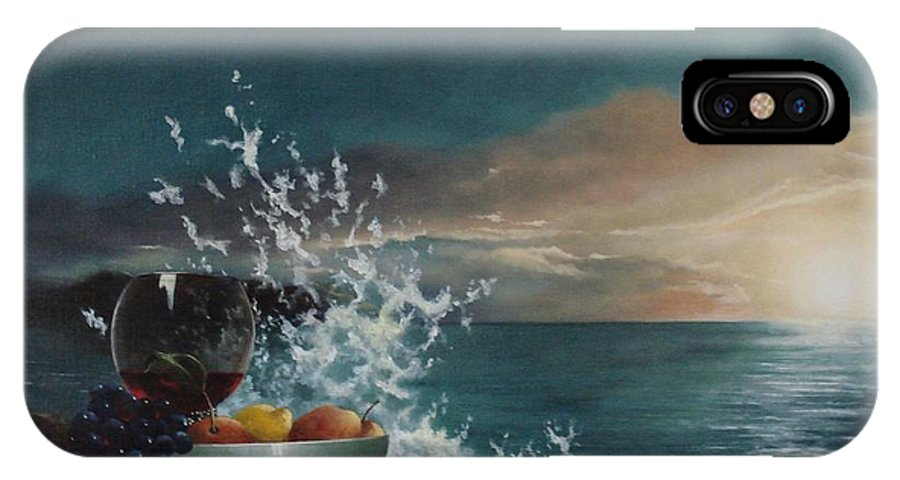 Seascape IPhone X Case featuring the painting Wave by Tjerk Reijinga