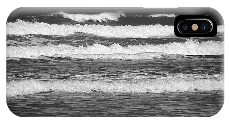 Waves IPhone X Case featuring the photograph Waves 3 In Bw by Susanne Van Hulst
