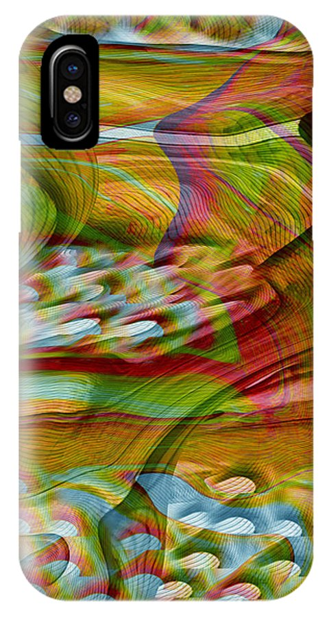 Abstracts IPhone X Case featuring the digital art Waves And Patterns by Linda Sannuti