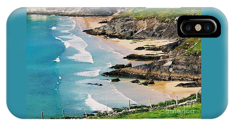 Irish Art Seascape Ocean Scenic Beach Secluded Cove Greeting Card Landscape Outdoors Travel Meditation Serene Tranquil Vibrant Blue Water Nature Cliffs Seashore Beaches Canvas Print Suggested Metal Frame Wood Print Poster Print Available On Shower Curtains Tote Bags Mugs T Shirts Throw Pillows Pouches Weekender Tote Bags New Spiral Note Books Phone Cases Yoga Mats And New Fleece Blankets IPhone X Case featuring the photograph Waves Coming Ashore At Sybil Point Ireland # 1 by Marcus Dagan