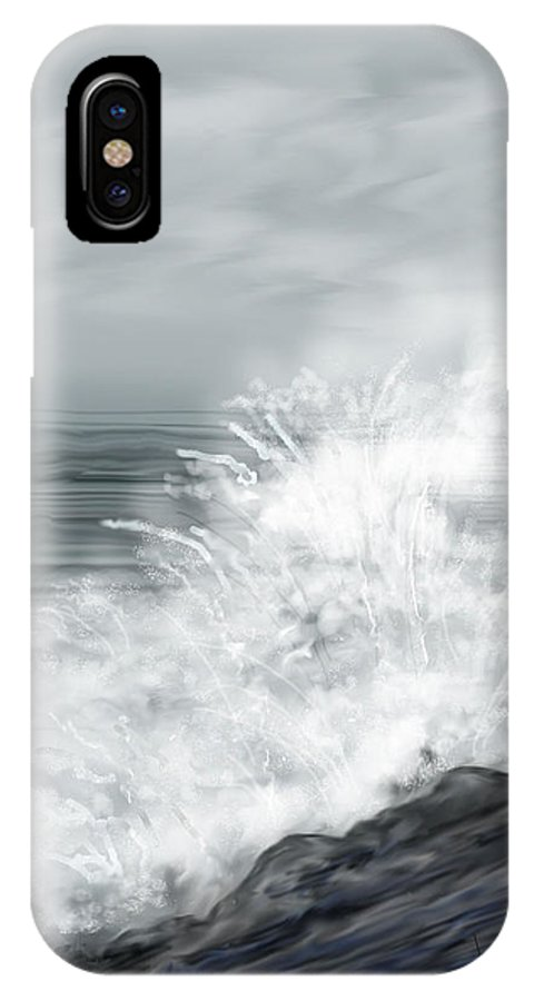 Seascape IPhone Case featuring the painting Waves Crashing The Rocks In Ireland by Anne Norskog