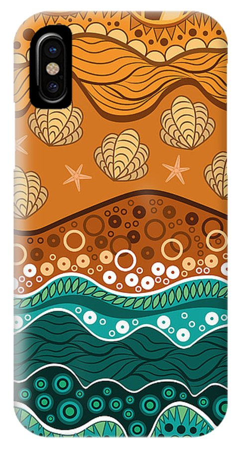Water IPhone X Case featuring the digital art Waves by Veronica Kusjen