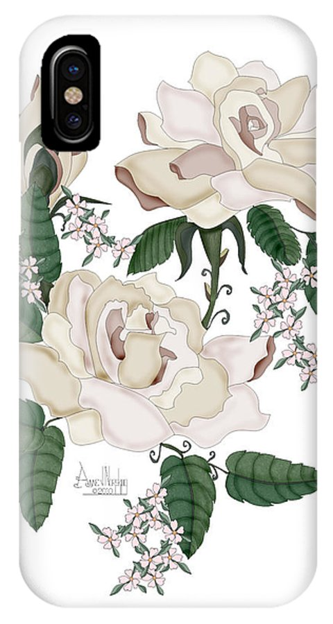 White Roses IPhone X Case featuring the painting Wax Roses by Anne Norskog