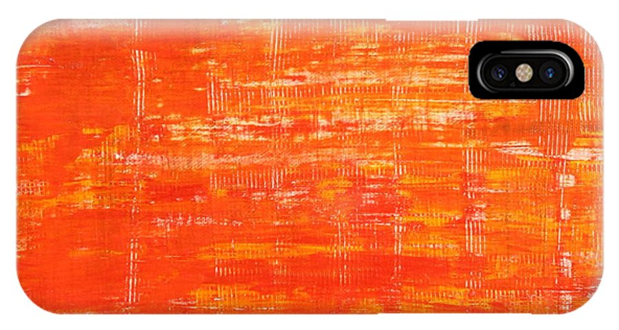 Abstract IPhone X Case featuring the painting Way Up There by Habib Ayat