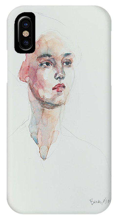 Watercolor IPhone X / XS Case featuring the painting Wc Mini Portrait 6       by Becky Kim
