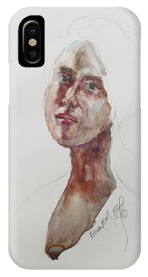 Watercolor IPhone X / XS Case featuring the painting Wc Mini Portrait 7       by Becky Kim