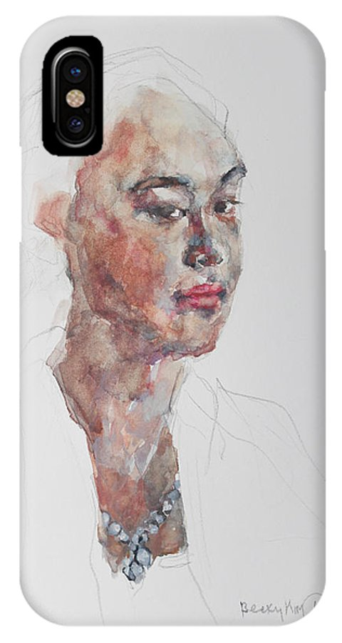 Watercolor IPhone X / XS Case featuring the painting Wc Mini Portrait 8       by Becky Kim