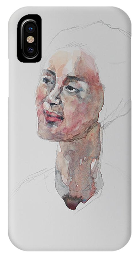 Watercolor IPhone X / XS Case featuring the painting Wc Mini Portrait 9       by Becky Kim