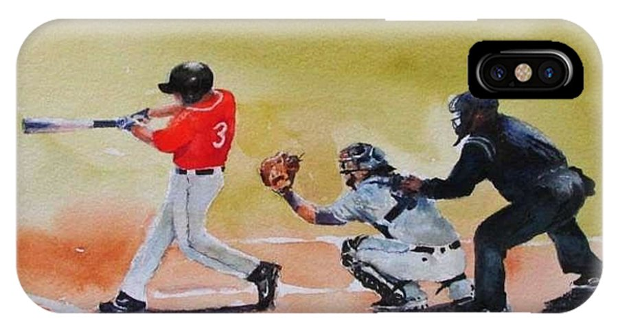 Willian Carey University IPhone X Case featuring the painting Wcu At The Plate by Bobby Walters