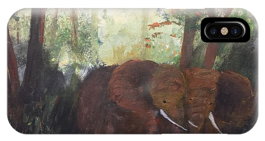 Elephant Pair IPhone X Case featuring the painting We Two by Trilby Cole
