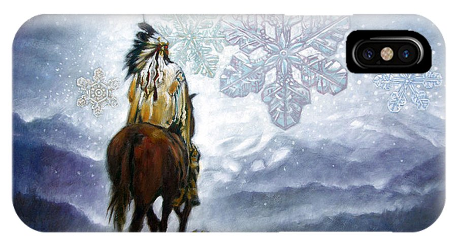 American Indian IPhone Case featuring the painting We Vanish Like The Snow Flake by John Lautermilch