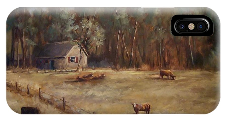 Landscape Cattle Hills Mountains Trees Sky Fence House IPhone X Case featuring the painting Weathered Shutters by Ruth Stromswold