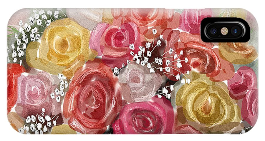 Roses IPhone Case featuring the digital art Wedding Bouquet by Arline Wagner