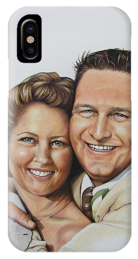 Wedding Portraits IPhone X Case featuring the drawing Wedding Portrait Jeremy N Katie by Joan Garcia