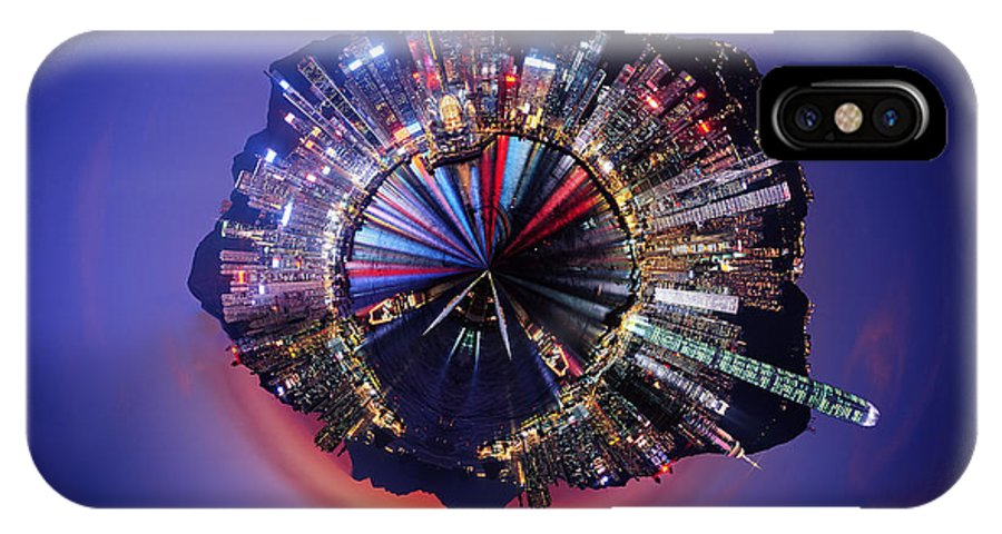 Wee Planet IPhone X Case featuring the digital art Wee Hong Kong Planet by Nikki Marie Smith