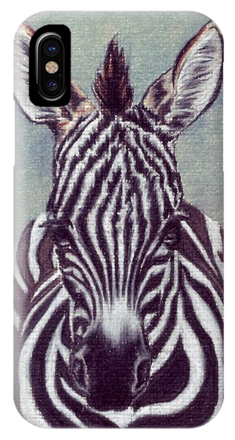 Zebra IPhone X Case featuring the drawing Wee Zeeb by Kristen Wesch