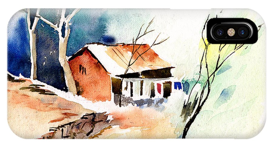 Nature IPhone X Case featuring the painting Weekend House by Anil Nene