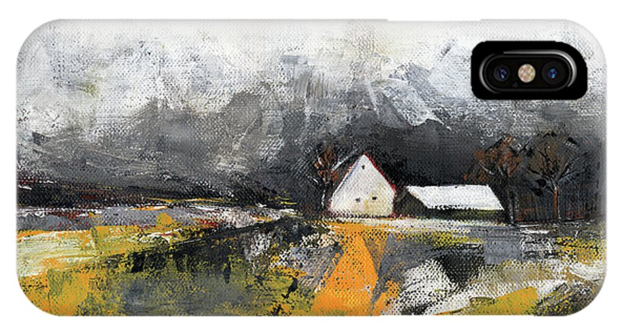 Landscape IPhone X Case featuring the painting Welcome Home by Aniko Hencz
