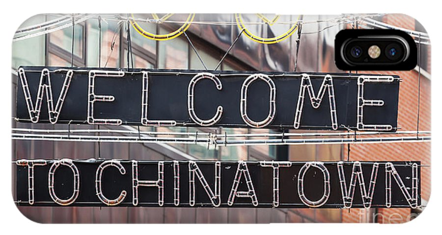 Sign IPhone X / XS Case featuring the photograph Welcome To Chinatown Sign In Manhattan by Antonio Gravante