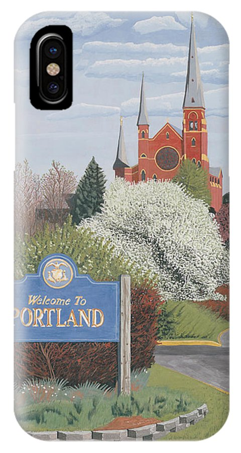 Church IPhone Case featuring the painting Welcome To Portland by Dominic White
