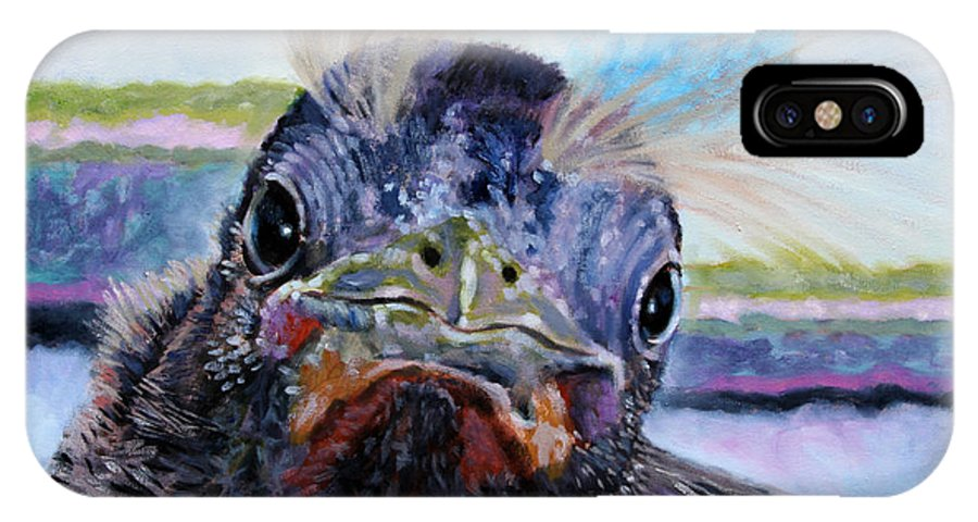 Baby Bird IPhone X Case featuring the painting Welcome To The World by John Lautermilch