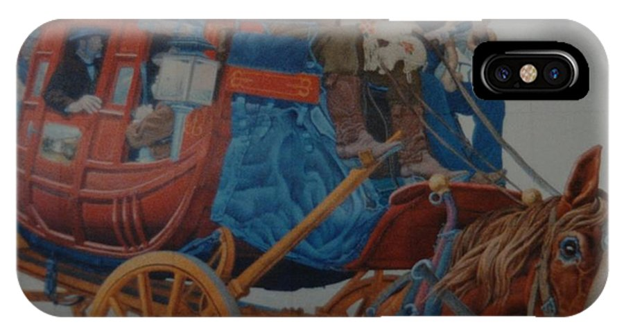 Mural IPhone X Case featuring the photograph Wells Fargo Stagecoach by Rob Hans