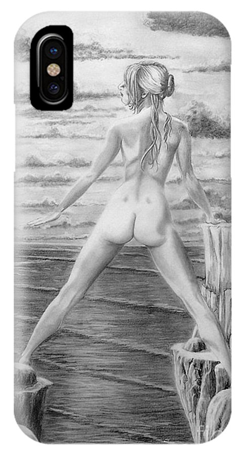 Nude IPhone Case featuring the drawing Wendy From Memory. by Murphy Elliott