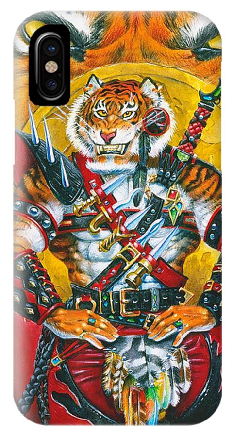 Fantasy IPhone X / XS Case featuring the painting Werecat Warrior by Melissa A Benson