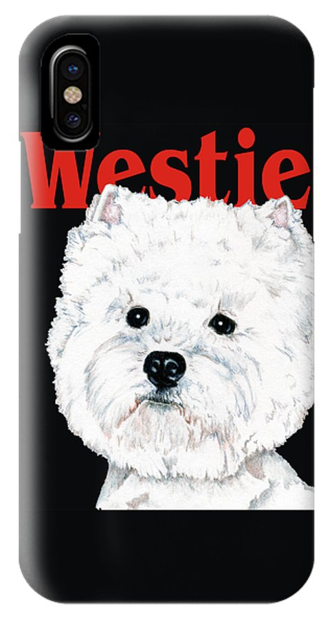 Westie IPhone X Case featuring the drawing West Highland White Terrier Westie Urban Pop by Kathleen Sepulveda