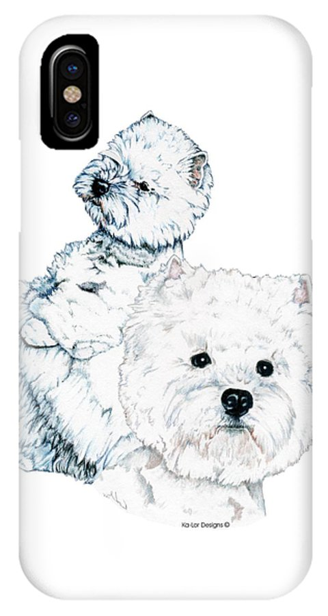West Highland White Terrier IPhone X Case featuring the drawing West Highland White Terriers by Kathleen Sepulveda