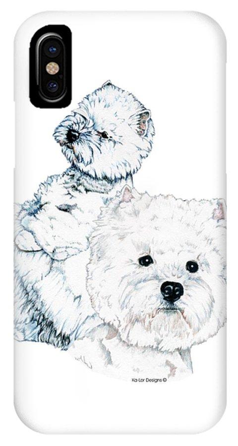West Highland White Terrier IPhone X Case featuring the drawing West Highland White Terriers by Kathleen Sepulveda