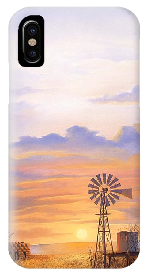 Windmill IPhone X / XS Case featuring the painting West Texas Sundown by Howard Dubois