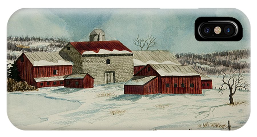 Winter Scene Paintings IPhone X / XS Case featuring the painting West Winfield Farm by Charlotte Blanchard