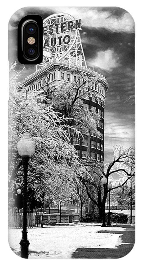Western Auto Kansas City IPhone X Case featuring the photograph Western Auto In Winter by Steve Karol