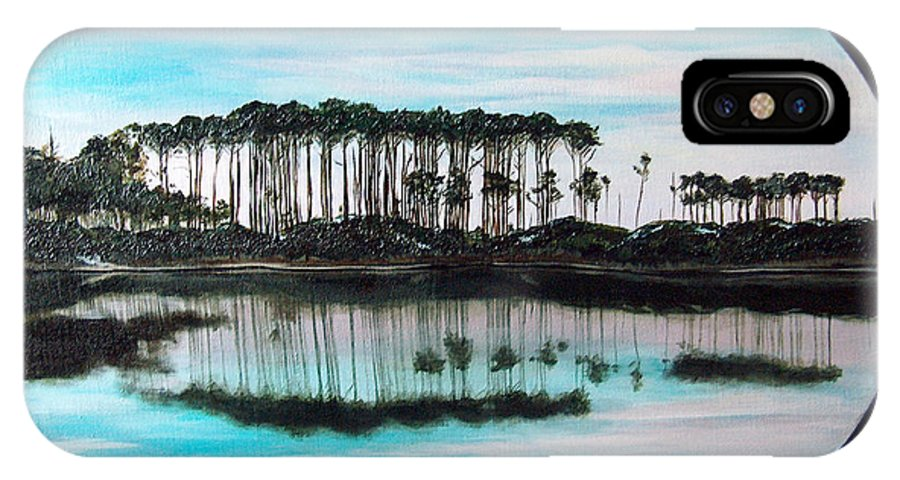 Western Lake IPhone X Case featuring the painting Western Lake Sunset by Racquel Morgan