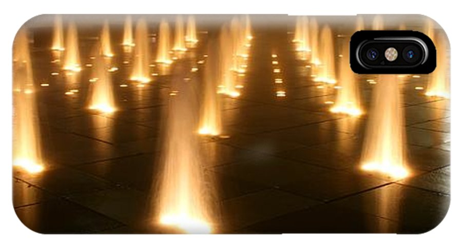Fountain IPhone X Case featuring the photograph Westin Crown Center Dancing Waters by David Dunham