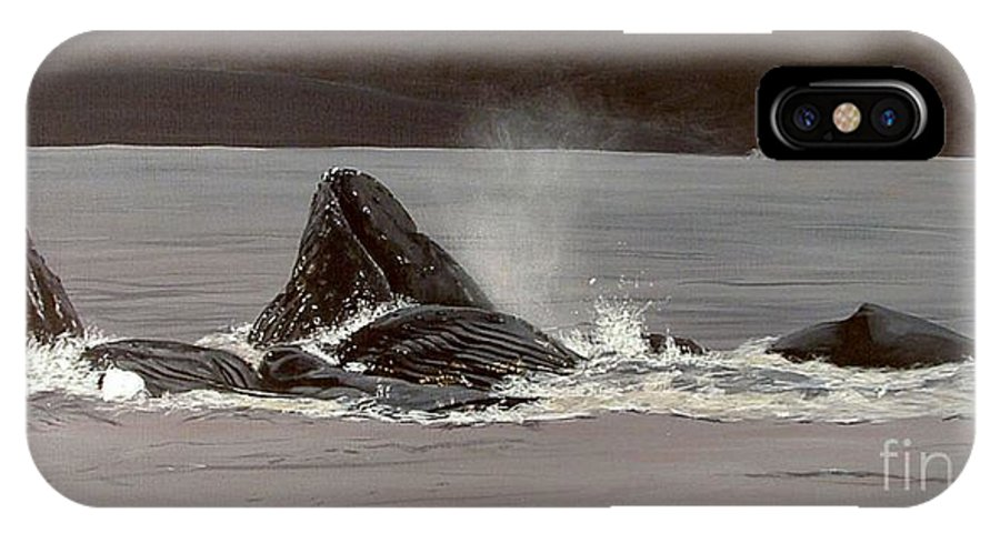 Whale IPhone Case featuring the painting Whales Feeding by Shawn Stallings