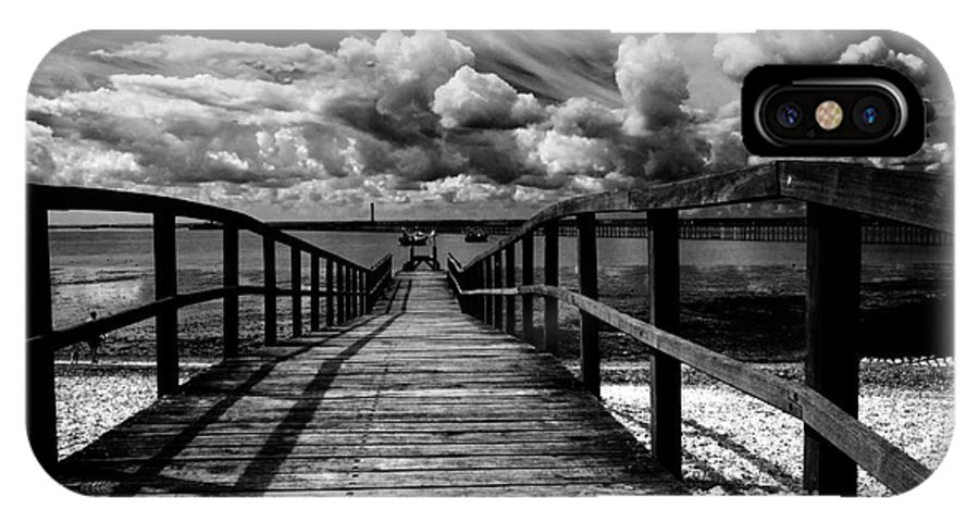 Southend On Sea Wharf Clouds Beach Sand IPhone Case featuring the photograph Wharf At Southend On Sea by Sheila Smart Fine Art Photography