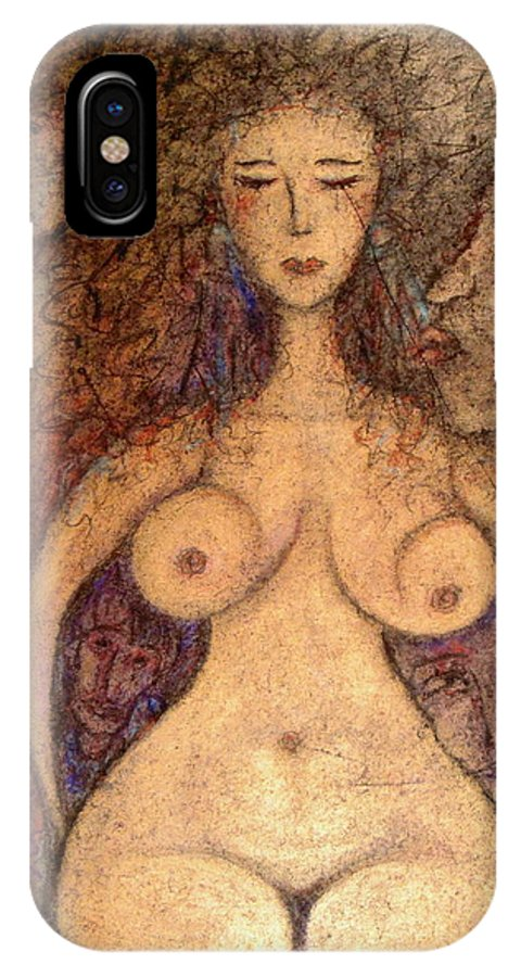 Figurative Art IPhone X Case featuring the painting What Are You Looking At-4 by Natalie Holland