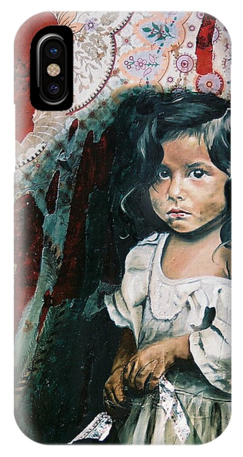Asian Girl IPhone X Case featuring the painting What Is My Worth by Teresa Carter