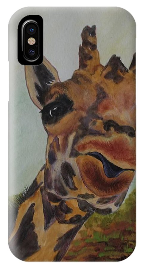 Animals IPhone X Case featuring the painting Whatcha Doin.  by Patricia Voelz