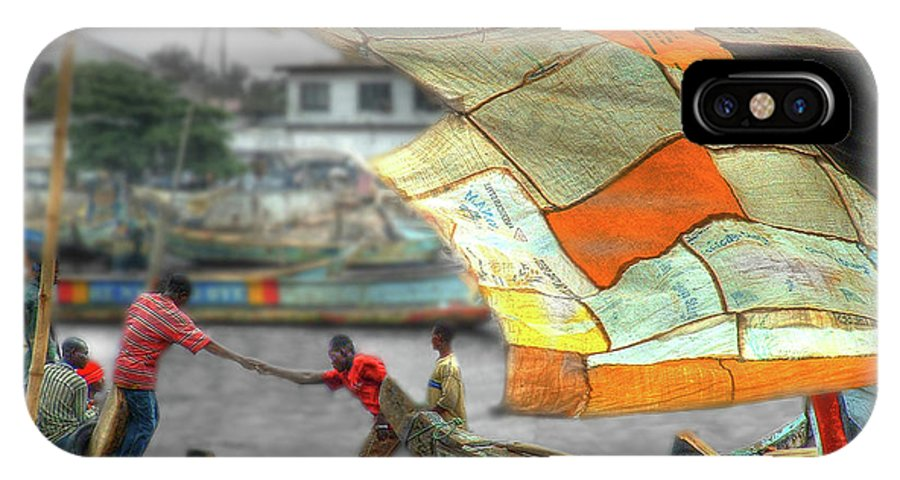 Ghana IPhone X Case featuring the photograph Whatever It Takes - Makeshift Sail At Tema Harbor by Wayne King