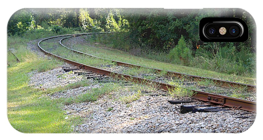 Railroad IPhone X Case featuring the photograph Whats Around The Bend by Suzanne Gaff