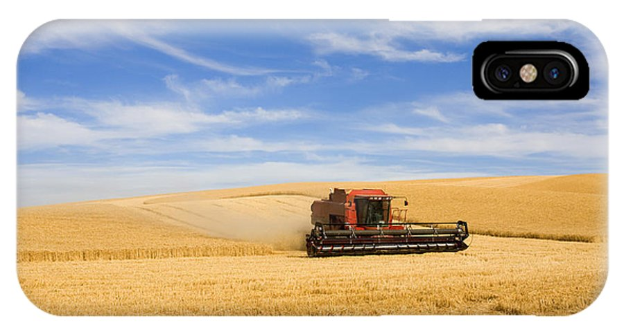 Combine IPhone X Case featuring the photograph Wheat Harvest by Mike Dawson